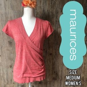 Maurice's Pink/red heather short sleeve shirt
